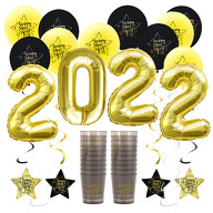 Happy New Year Silvester Neujahr Party Feier Deko Set 2022 - Luftballons Girlanden Trinkbecher