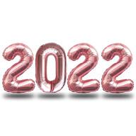 Folien Luftballon Zahl 2022 Silvester Neujahr Party Deko Ballons Zahlenballons - roségold