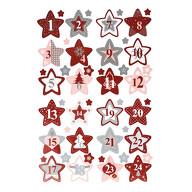 24 Adventskalender Sticker Zahlen Aufkleber Weihnachten Basteln Weihnachtsdeko - Stern Form rot