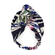 Haarband Stirnband Blumen Motiv Haarschmuck Kopfschmuck - blau schwarz