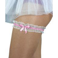 Strumpfband mit Schleife Hochzeit JGA Junggesellinnenabschied - rosa