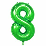 1x Folien Luftballon mit Zahl 8 Kinder Geburtstag Jubiläum Silvester Party Deko Ballon grün