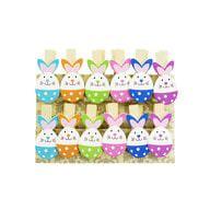 12 Mini Wäscheklammern Holz Miniklammern Deko Klammern - bunte Hasen