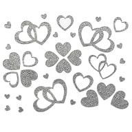 Herz Sticker Set Glitter Glitzernd - silber