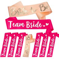 Schärpe Bride to Be + Team Bride Set JGA Hen Party Hochzeit Herz pink lachs