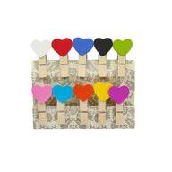 10 Mini Wäscheklammern Holz Miniklammern Deko Klammern - bunte Herzen