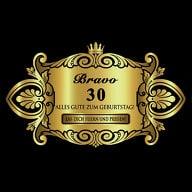 Flaschenetikett Aufkleber gold elegant Geburtstag - Bravo 30