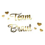 Bügelbild Team Braut + Herzen für JGA Junggesellinnenabschied Hochzeit - gold