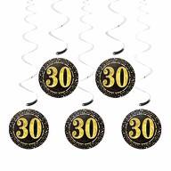 5 Deckenhänger Wirbel Spiral Girlanden mit Zahl 30 Geburtstag Jubiläum Party Feier Deko