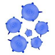 6er Set Silikon Deckel Frischhaltedeckel Dehnbar Wiederverwendbar verschiedene Größen - blau