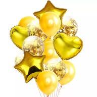 Konfetti Folien Luftballon Set 14 Stk Geburtstag Party Hochzeit JGA - gold