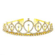 Krone mit Diamanten Glitzer Steinen Diadem Tiara Mädchen Damen JGA Hochzeit Geburtstag Party gold