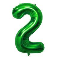 1x Folien Luftballon mit Zahl 2 Kinder Geburtstag Jubiläum Silvester Party Deko Ballon grün