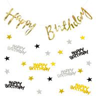Happy Birthday Geburtstag Party Deko Set - Girlande + Konfetti - gold silber schwarz