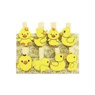 8 Mini Wäscheklammern Holz Miniklammern Deko Klammern - gelbe Enten