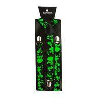 Hosenträger Unisex verstellbar Y -Form - schwarz-neon grün Totenköpfe