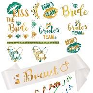 JGA Hochzeit Accessoire Set - Braut Schärpe + Bride - Team Bride Tattoos weiß gold
