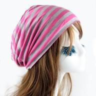 Long Beanie Jersey Mütze Slouch XXL Mützen - gestreift pink-grau