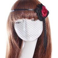 Gothic Collier Augen Maske Haarband Fascinator Netz Spitze - Blume