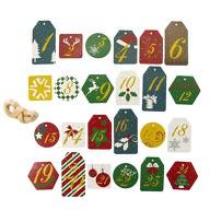 24 Zahlen Anhänger 1-24 mit Jute Schnur und Glitzereffekt für DIY Adventskalender Weihnachten Deko