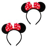 2x Haarreif Haarreifen Maus Mouse Ohren mit Schleife Fasching Karneval - rot