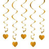 5 Girlande Spiral Deckenhänger mit Herz - champagner-gold