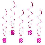 5 Wirbel Deckenhänger 18. Geburtstag mit Bändern und Ösen - pink