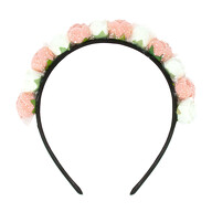 Rosen Haarreifen Blumen Braut JGA Hochzeit Fasching Karneval Damen Kopfschmuck - rosa weiß