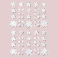 68 Sterne Sticker Aufkleber Glitzernd Funkelnd Weihnachtsdeko Weihnachtssterne - weiß