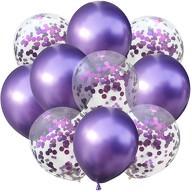 Konfetti Luftballon Set 10 Stk Geburtstag Party Hochzeit JGA Deko lila