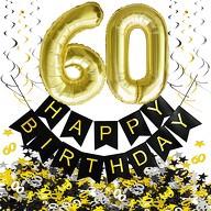 60. Geburtstag Party Deko Set - Girlande + Zahl 60 Ballons + Spiral Deckenhänger + Konfetti