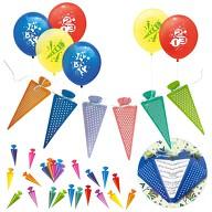 Schuleinführung Schulanfang Einschulung Deko Set - Luftballons + Girlande + Konfetti Set