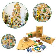 DIY Adventskalender Set - 24 Boxen Schachteln + 24 Zahlen Dino Aufkleber + Jute Strick für Advent