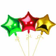 3er Set Stern Folien Luftballons Kinder Geburtstag Schuleinführung Party JGA Hochzeit rot gold grün