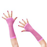Netzhandschuhe lang fingerlos Party Karneval Fasching - neon pink