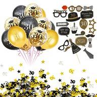 30. Geburtstag Party Feier Deko Set - Ballons + Fotorequisiten + Konfetti