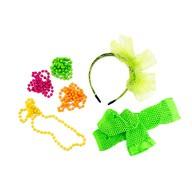 80er Jahre Kostüm Accessoire Set - Haarreifen + Perlenketten +  Netzhandschuhe 80s Party Karneval Fasching