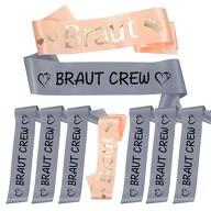 Schärpe Braut + Braut Crew Set JGA Hen Party Hochzeit Herzen grau lachs