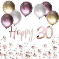 30. Geburtstag Jubiläum Party Deko Set - Happy 30 Girlande + Luftballons + Konfetti Zahl 30