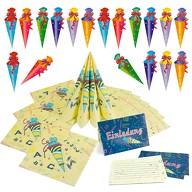 Schuleinführung Schulanfang Einschulung Deko Set - Einladungskarten + Servietten + Konfetti Set