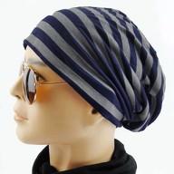 Long Beanie Jersey Mütze Slouch XXL Mützen - gestreift blau-grau