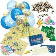 Schuleinführung Schulanfang Einschulung Deko Set - Luftballons + Einladungskarten + Servietten uvm.