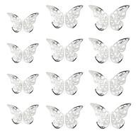 3D Schmetterlinge 12er Set Metall Wandtattoo Wanddeko - silber