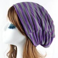Long Beanie Jersey Mütze Slouch XXL Mützen - gestreift lila-grau
