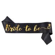 Schärpe Bride To Be JGA Junggesellinnenabschied Hen Party Ring schwarz