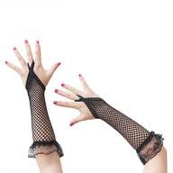 Netzhandschuhe Spitze lang Gothic Karneval Fasching - schwarz