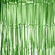 Lametta Vorhang für Weihnachten Silvester Geburtstag Deko Party Fasching Karneval - matt grün