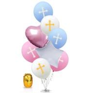 Kreuz Folien Luftballon Set 8 Stk. Taufe Kommunion Konfirmation Geburtstag Deko