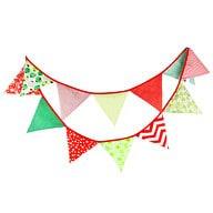 Wimpel Girlande Wimpelkette Banner Vintage - grün-rot