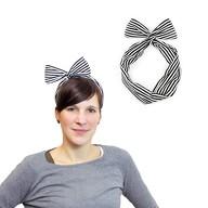 Haarband Stirnband gestreift Haarschmuck Kopfschmuck - schwarz weiß